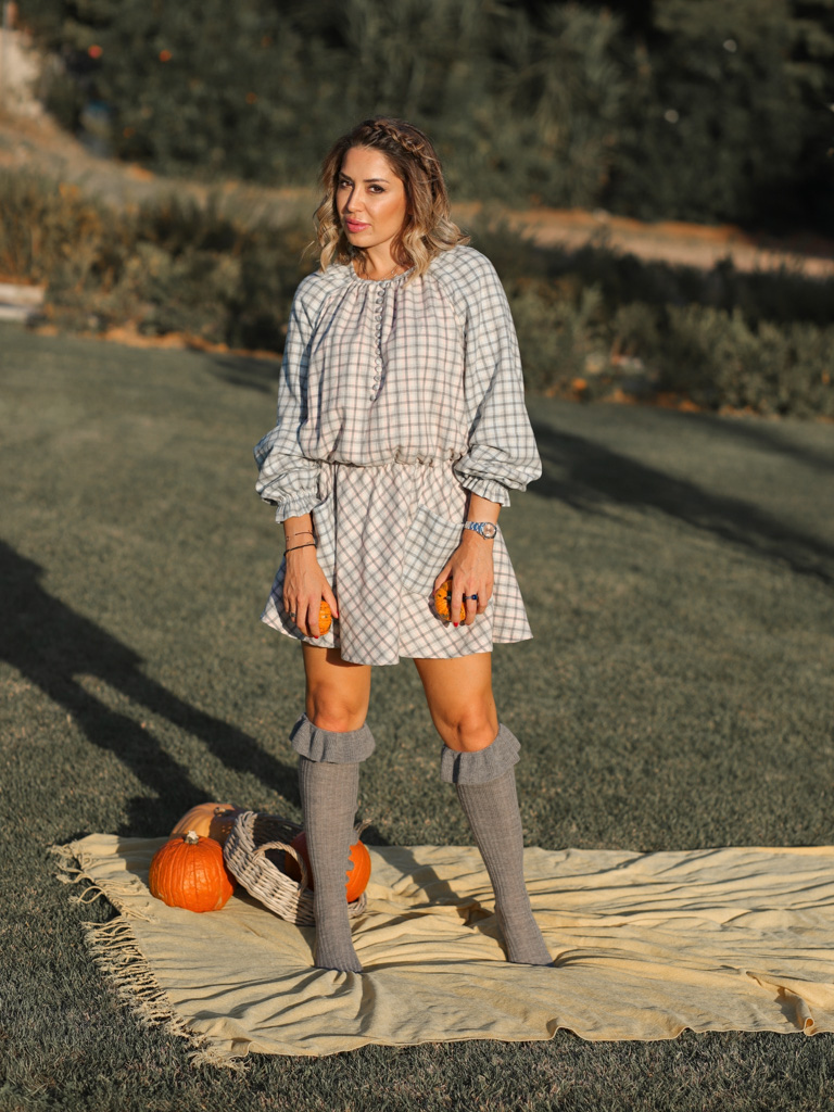 Pink Checked cotton mini dress Cozy image