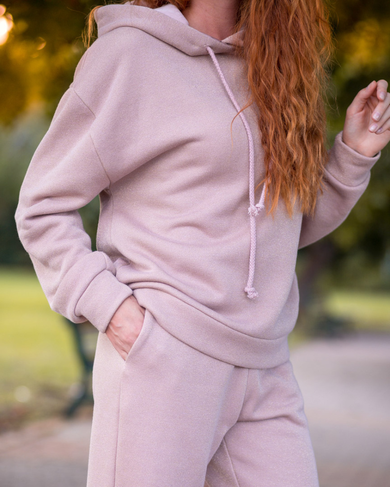 (English) Pink Oversized hoodie with Lurex 5 image