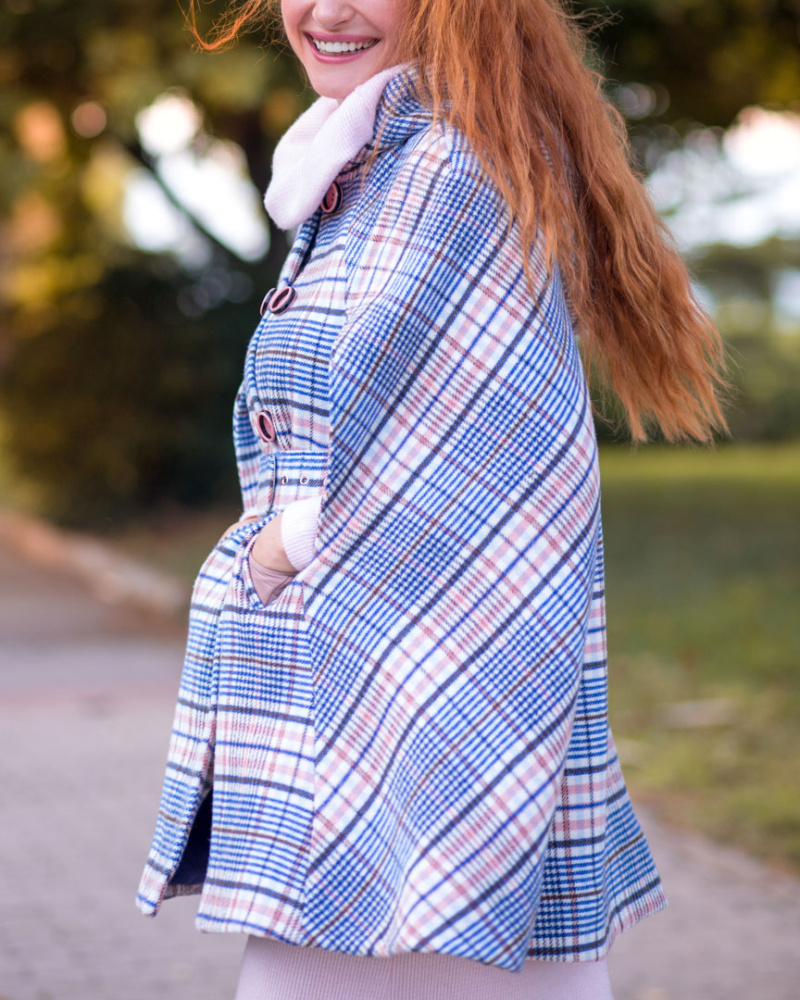 Blue and Pink Checked Cape Coat Lapland 2 image