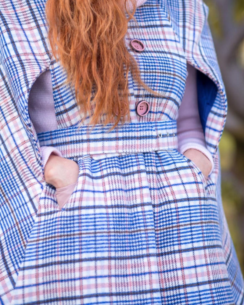 Blue and Pink Checked Cape Coat Lapland 5 image