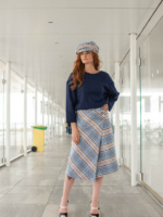 Woolen Checked Midi Skirt Checked Punch image 4