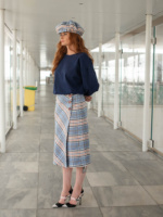 Woolen Checked Midi Skirt Checked Punch image 3