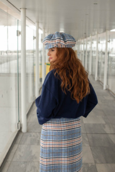 Woolen Checked Midi Skirt Checked Punch image 2