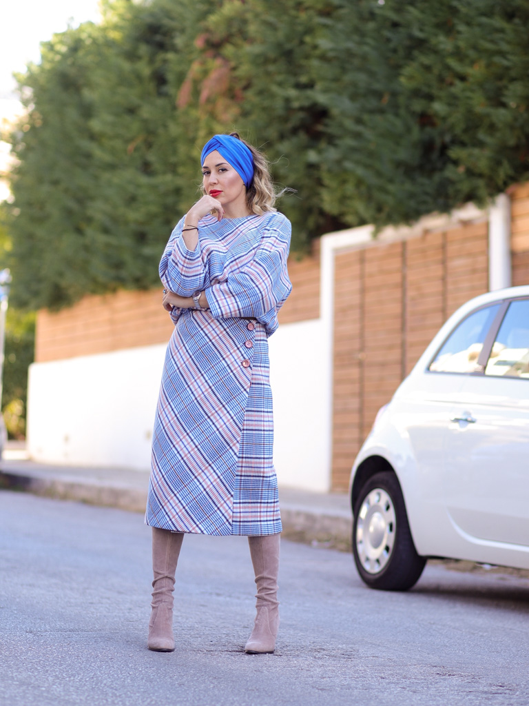 woolen checked midi skirt checked punch image
