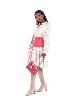 Floral print mini dress pink1